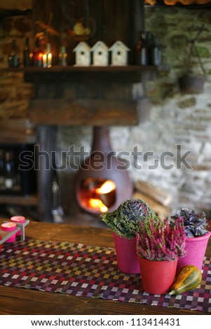Flowers on a table with fireplace in the background - stock photo