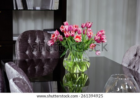 flowers on office desk - stock photo