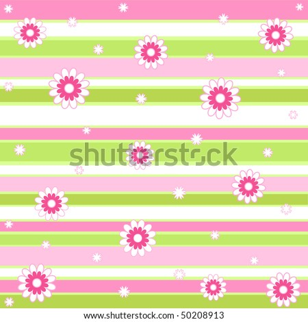Flowers on stripes - stock photo