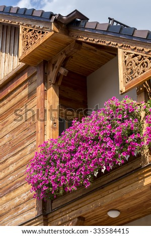 Flowers on the balcony of the trees - stock photo