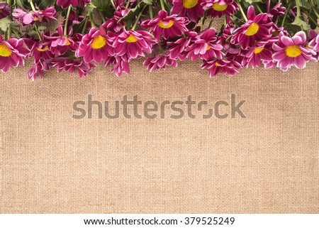 Flowers on the old burlap   - stock photo