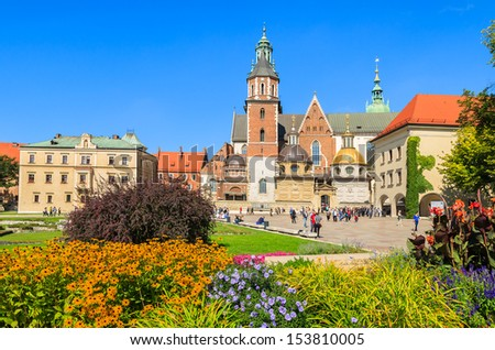 Flowers on Wawel Castle square in Krakow, Poland  - stock photo