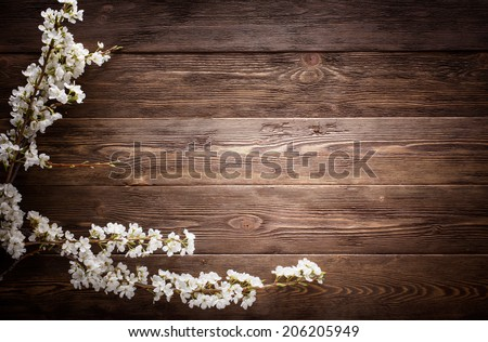 Flowers on wood texture background with copyspace - stock photo