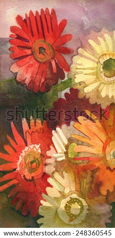 Flowers. Original watercolor painting on paper - stock photo