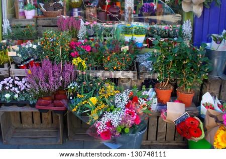 Flowers outside of flower shop - stock photo