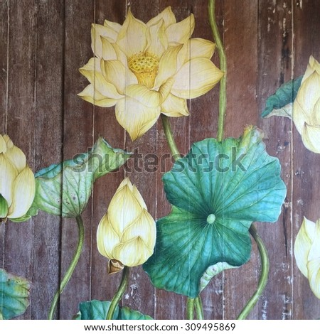 Flowers painted on wood. - stock photo