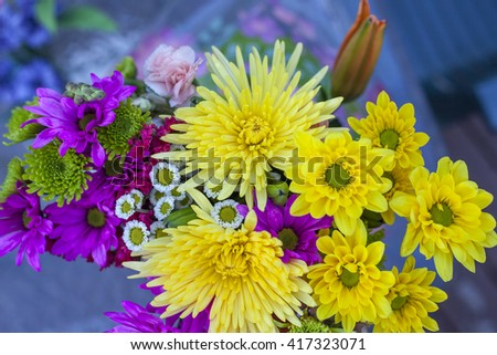 Flowers photograph photography yellow pink purple mums gerber daisy bouquet  - stock photo