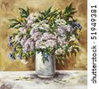 flowers, picture oil paints on a canvas: a bouquet camomiles, cornflowers and origanum in a white glass - stock photo
