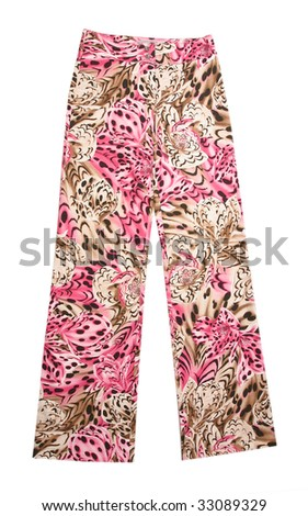 flowers pink trousers pants - stock photo