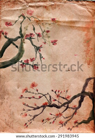 Flowers plums on a crumpled old paper. Picture in east style by India ink, sumi-e - stock photo