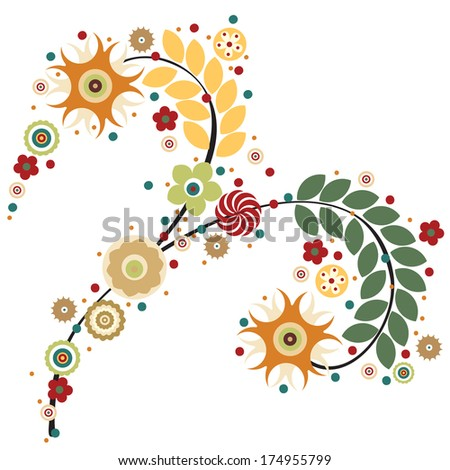 Flowers raster, traditional branch of floral blooming. Designs for use in fashion, mass print production, advertising, web and other various applications.