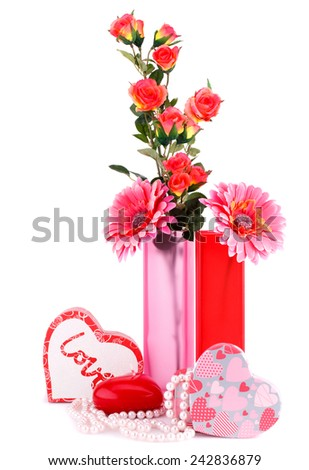 Flowers, red heart candle, necklaces, gift boxes isolated on white background. - stock photo