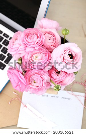 Flowers, rose. Beautiful, pink bouquet in the pot
