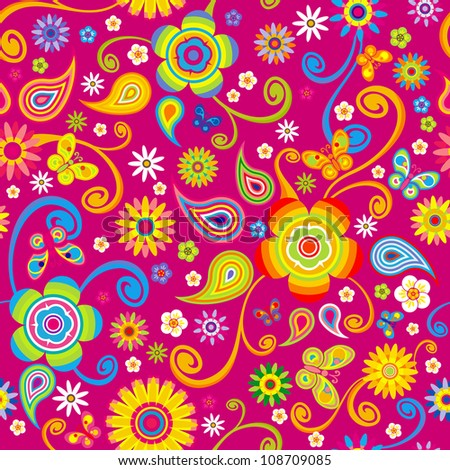 flowers seamless (floral pattern with butterfly)