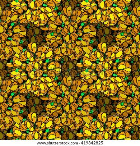 Flowers seamless pattern yellow - stock photo