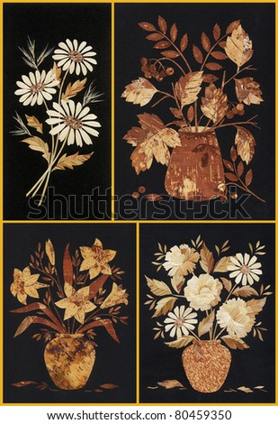 Flowers, set application from straws and birch bark