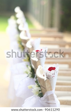 flowers settings for a wedding on mountain - stock photo