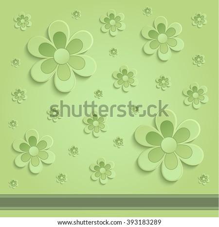 Flowers Spring paper 3D green raster - stock photo