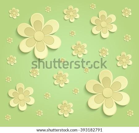 Flowers Spring paper 3D green yellow wallpaper raster - stock photo