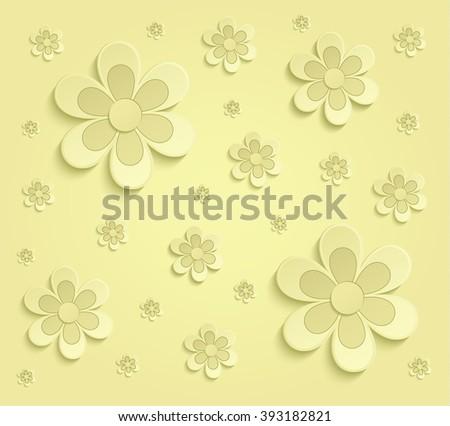 Flowers Spring paper 3D yellow wallpaper raster - stock photo