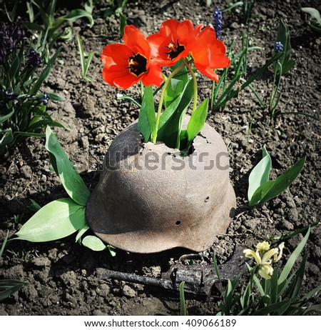 Flowers sprouted through a soldier's helmet and rusty gun lying near it