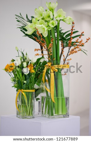 flowers - tables set for wedding - stock photo