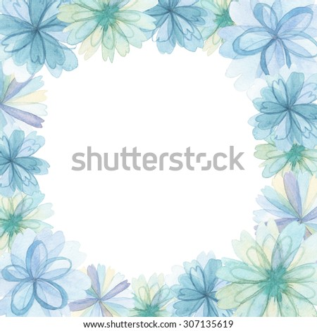 Flowers traditional drawing decoration and invitation on white background - stock photo
