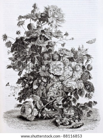 Flowers vase old illustration. Created by Von-Huysum, published on Magasin Pittoresque, Paris, 1844 - stock photo