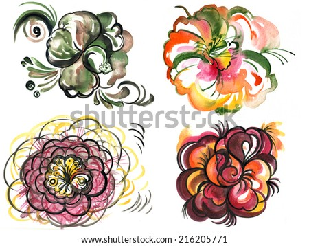flowers , watercolor ,  - stock photo