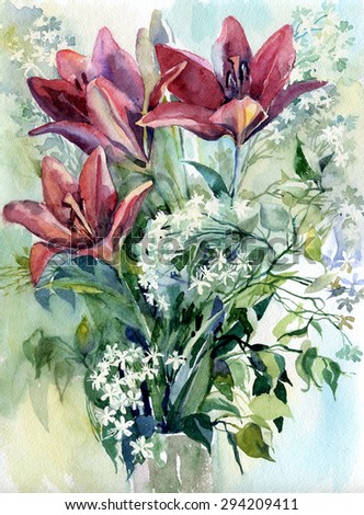 flowers , watercolor  - stock photo