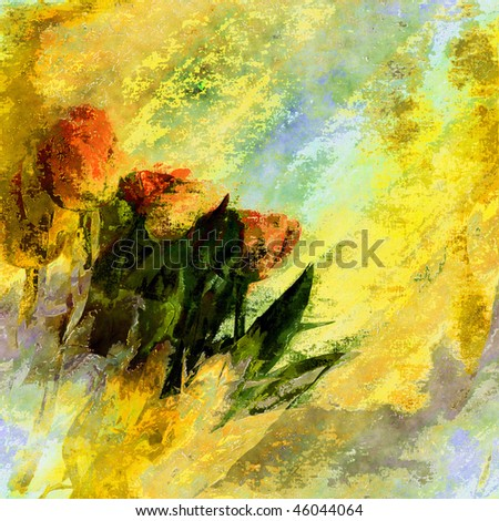 Flowers Watercolor Art Seamless Design - stock photo