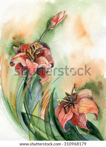 flowers , watercolor ,  botany  - stock photo
