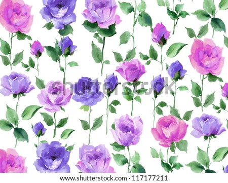 flowers watercolor floral rose seamless pattern - stock photo
