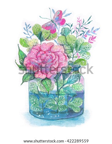 Flowers watercolor illustration. Floral Bouquet in glass jar with butterfly, cute composition. For beautiful design of Mother's Day, wedding, birthday, Easter, Valentine's Day cards - stock photo