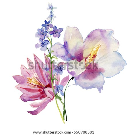 Flowers watercolor illustration. Floral composition. Mother's Day, wedding, birthday, Easter, Valentine's Day. Bright colors. Spring. Summer.