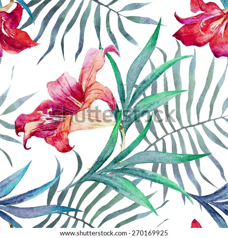 flowers, watercolor, lily, pattern, tropical, exotic,wallpaper, background, seamless,  - stock photo