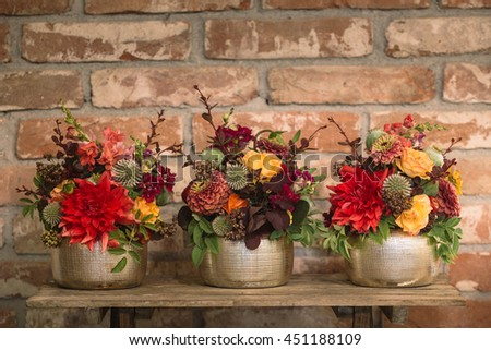 Flowers with the brick background