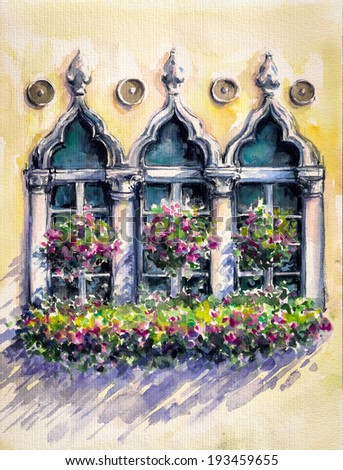 Flowery balcony in Venetian style with arched windows.Picture created with watercolors. - stock photo