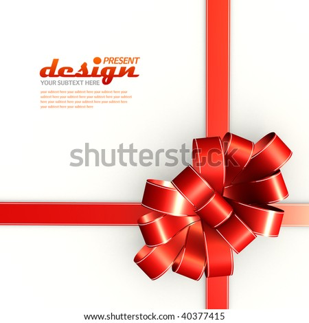 Flowery present bow with copy-space on white background - for Christmas, birthdays, weddings etc.