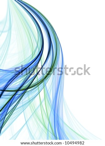 Flowing curves of blue green thread texture (fractal abstract background) - stock photo