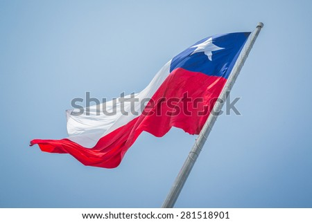 Flowing, flying flag of Chile. - stock photo
