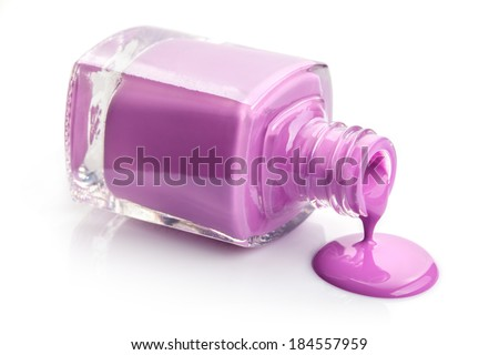 flowing pink nail polish isolated on white - stock photo