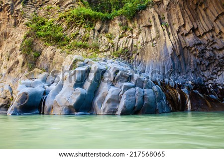 flowing river at Alcantara Gorge - geological and botanical park at Sicily, Italy - stock photo