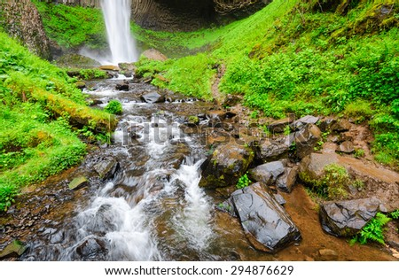 Flowing River at Columbia, Columbia Gorge - stock photo