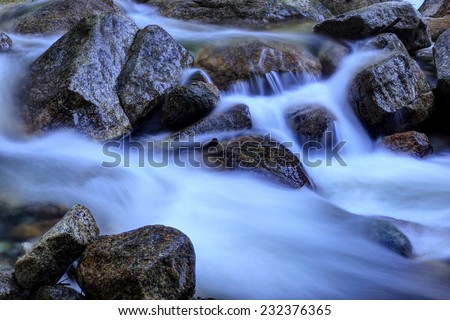 Flowing water captured with a slow shutter speed - stock photo