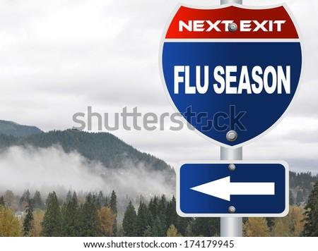 Flu season road sign - stock photo