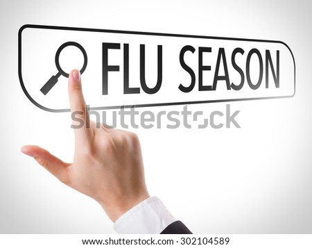 Flu Season written in search bar on virtual screen - stock photo