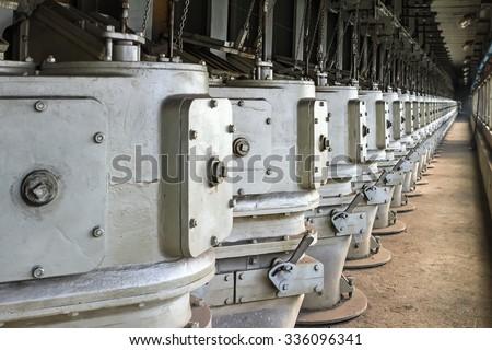 Flue-gas box (duck) in gas distribution channel on coke battery - stock photo