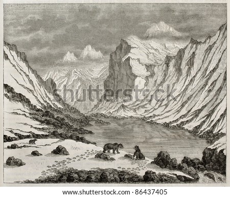Fluela pass old view, Switzerland. By unidentified author, published on Magasin Pittoresque, Paris, 1843 - stock photo