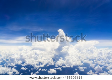 Fluffy cloud background, view from airplane. - stock photo